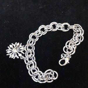 St. John silver snowflake charm bracelet